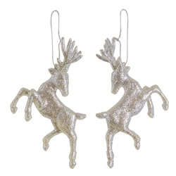 Small Image of Set of Two Hanging Silver Glitter Reindeer Christmas Decorations