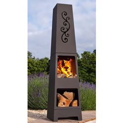Small Image of La Hacienda Manoa Black Steel Garden Chiminea With Laser Cut Design 150cm High