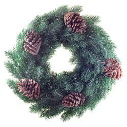 Small Image of 45cm Pine Cone & Realistic Artificial Green Fir Christmas Wreath Decoration