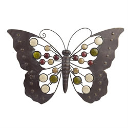 Small Image of Large Metal Butterfly Wall Art Ornament with Decorative Stones Garden & Home