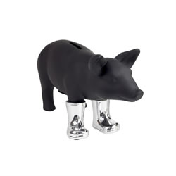 Small Image of Black Ceramic Pig Piggy Bank in Metallic Wellies (Silver)