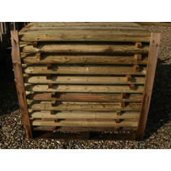 Small Image of Pack of 10 1.2m (4ft) tall, 50mm diameter treated Wooden Fence Posts