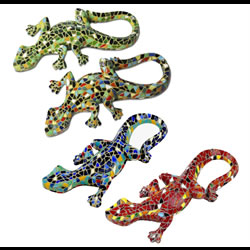 Small Image of Set of Four Mosaic Wall Lizard / Gecko Garden Animal Ornaments