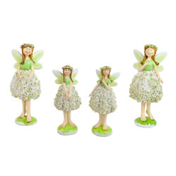 Small Image of Standing Summer Flower Fairy Garden Ornament Figurines (Set of 4)
