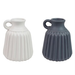 Small Image of Set of 2 Decorative Matte Ceramic 11cm Grey & White Bud Vases
