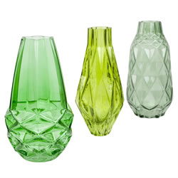 Small Image of Set of 3 Patterned Green Glass 18cm Bud Vase Ornaments