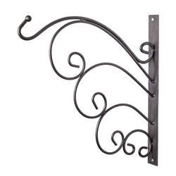 Small Image of Black Metal Garden Wall Hook Hanging Basket Bracket - Design A