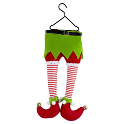 Small Image of Hanging Plush Elf Legs Christmas Tree Decoration