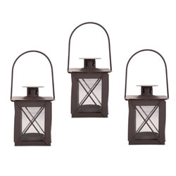 Small Image of Set of Three Small Traditional Metal & Glass Lantern with Handle
