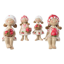 Small Image of Set of 4 Strawberry Girl Figurine Garden Ornaments (Set of 4)
