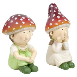Small Image of Mushroom Twin Pixie Children Garden Ornament Set of 2 (Large)