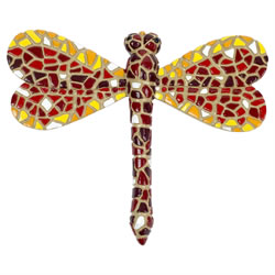 Small Image of Red Mosaic Dragonfly Garden Wall Art Ornament (1 x Red)