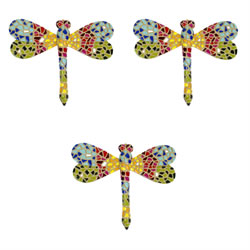 Small Image of Mosaic Dragonfly Garden Wall Art Ornament Set (3 x Multi-coloured)