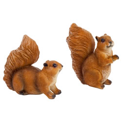 Small Image of Set of 2 Small Red Squirrel Garden Animal Ornaments