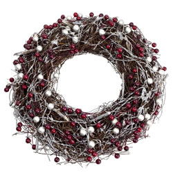 Small Image of Silver Glitter & Red Berry 28cm Woven Twig Christmas Wreath