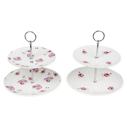Small Image of Two-Tier Vintage Pink Rose Ceramic Cake Stands (Set of 2)