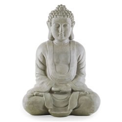 Small Image of 38cm Sitting Grey Stone Look Resin Garden Buddha Ornament