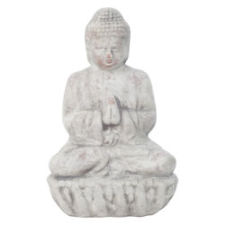 Small Image of Small 17cm Grey Terracotta Sitting Buddha Statue Garden or Home Ornament