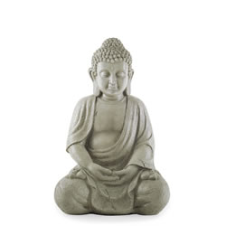 Small Image of 30cm Sitting Grey Stone Look Resin Garden Buddha Ornament