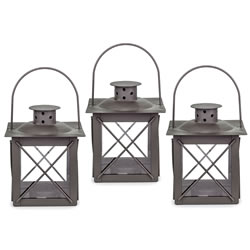 Small Image of Set of Three Small 'Farol' Garden Lanterns in Charcoal Grey Metal
