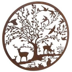 Small Image of Wonderful Rustic Round Steel Garden Metal Deer and Woodland Animals Screen 1m diameter - ideal as a screen or wall mounting and for climbing plants!
