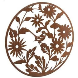 Small Image of Wonderful Rustic Round Steel Garden Metal Flower Screen 1m diameter - ideal as a screen or wall mounting and for climbing plants!