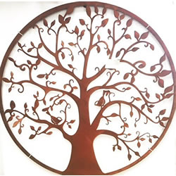 Small Image of Wonderful Rustic Round Steel Garden Metal Tree Screen 1m diameter - ideal as a screen or wall mounting and for climbing plants! New design this season