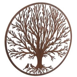 Small Image of Wonderful Rustic Round Steel Metal Winter Tree Screen Wall art - 1m diameter