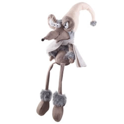 Small Image of Merville the 60cm Shelf Edge Sitting Fabric Christmas Mouse Ornament with Grey Scarf