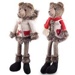 Small Image of Balthasar & Belle the Large Shelf Edge Sitting Plush Bear Ornaments