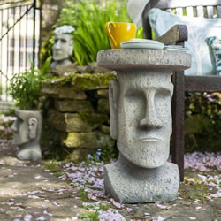 Small Image of La Hacienda Easter Island Garden Stand Ornament