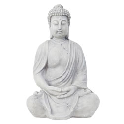 Small Image of 40cm Grey Stone Look Fibreclay Sitting Buddha Statue Garden Sculpture
