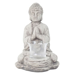 Small Image of 18cm Grey Terracotta Sitting Buddha Tealight Holder Garden or Home Ornament