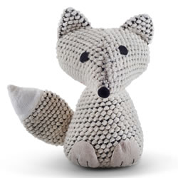 Small Image of Knitted Look Cream Fabric Fox Doorstop Home Accessory