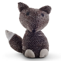 Small Image of Knitted Look Brown Fabric Fox Doorstop Home Accessory