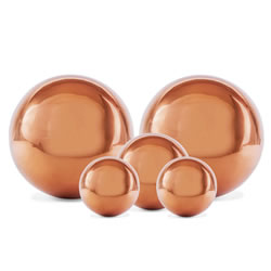 Small Image of Set of Five Copper Stainless Steel Garden Sphere Ornaments 2.5, 3 and 5cm