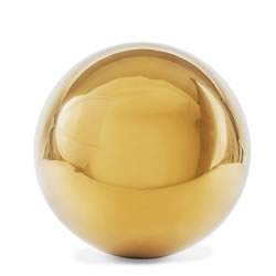 Small Image of Polished Gold Stainless Steel 13cm Garden Sphere Gazing Ball Ornament