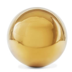 Small Image of Polished Gold Stainless Steel 18cm Garden Sphere Gazing Ball Ornament