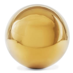 Small Image of Polished Gold Stainless Steel 25cm Garden Sphere Gazing Ball Ornament