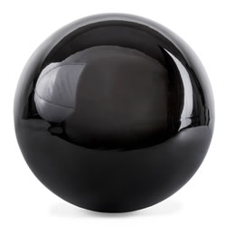 Small Image of Polished Black Stainless Steel 25cm Garden Sphere Gazing Ball Ornament