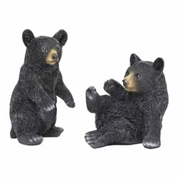 Small Image of Set of 2 Black Bear Animal Garden Ornaments