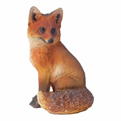 Small Image of Realistic 30cm Sitting Fox Animal Garden Ornament