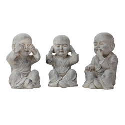 Small Image of 25cm See, Hear & Speak No Evil Shaolin Monk Garden Statue Set