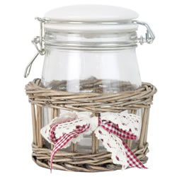 Small Image of 17cm Shabby Chic Glass Storage Mason Jar in Wicker Basket