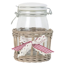 Small Image of 19cm Shabby Chic Glass Storage Mason Jar in Wicker Basket