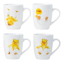 Small Image of Set of 4 Spring Chick White Porcelain Tea & Coffee Mugs
