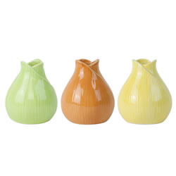 Small Image of Set of 3 Yellow, Green & Orange Ceramic Bud Vases for the Home