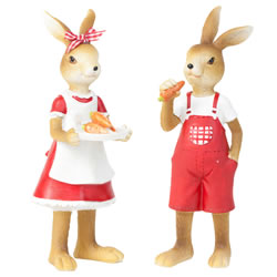 Small Image of Jack & Molly the Standing Easter Bunny Rabbit Figurine Ornaments