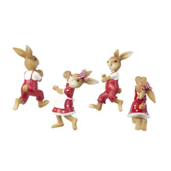 Small Image of The Burrows Family - Set of 4 Pot Hanger Rabbit Garden Ornaments