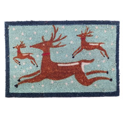 Small Image of Winter Themed Prancing Reindeer Christmas Coir Doormat